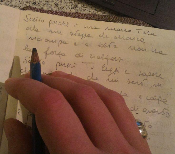 Scrivo per far scappare le frustrazioni. Per stendere del balsamo sui graffi che il tempo mi lascia addosso passando, come fossi un disco abraso da un giradischi poco cortese. Scrivo per non sentir…