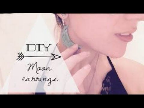 DIY- moon earrings (polymer clay recycling) - YouTube