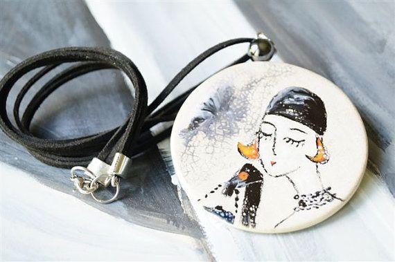Retro Necklaces Pendants Ceramic Jewelry Retro by HerMoments