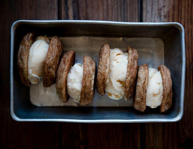 Peach frozen yoghurt + basil snickerdoodle sandwiches | Desserts for Breakfast: Desserts, Ice Cream Maker, Basil Snickerdoodles, Ice Cream Sandwiches, Breakfast, Sweet Tooth, Snickerdoodles Sandwiches, Peach Frozen Yogurt, Peaches Frozen Yogurt