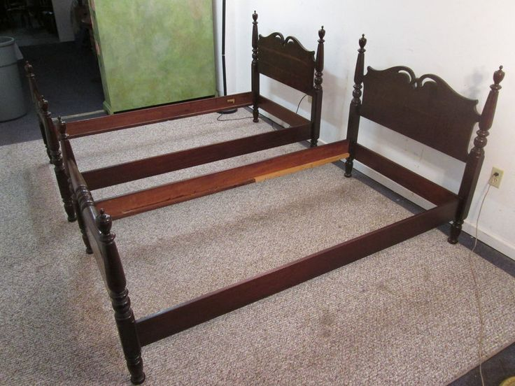 Pair Of Matching Solid Cherry Twin Beds ----- Excellent