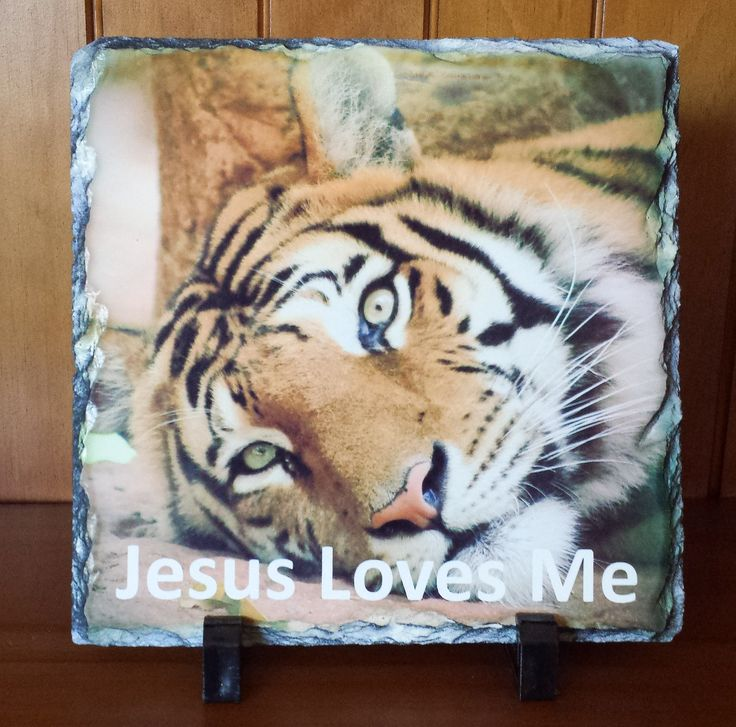 Jesus Loves Me  Handcrafted slate stone plaque with inspirational message, footrests and gift box included.    Limited stock available - http://www.biblestonesaustralia.com.au
