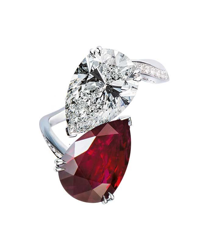 Ring with 5.36 ct. diamond and 4.07 ct. ruby in 18k white gold, price on request; Gilan