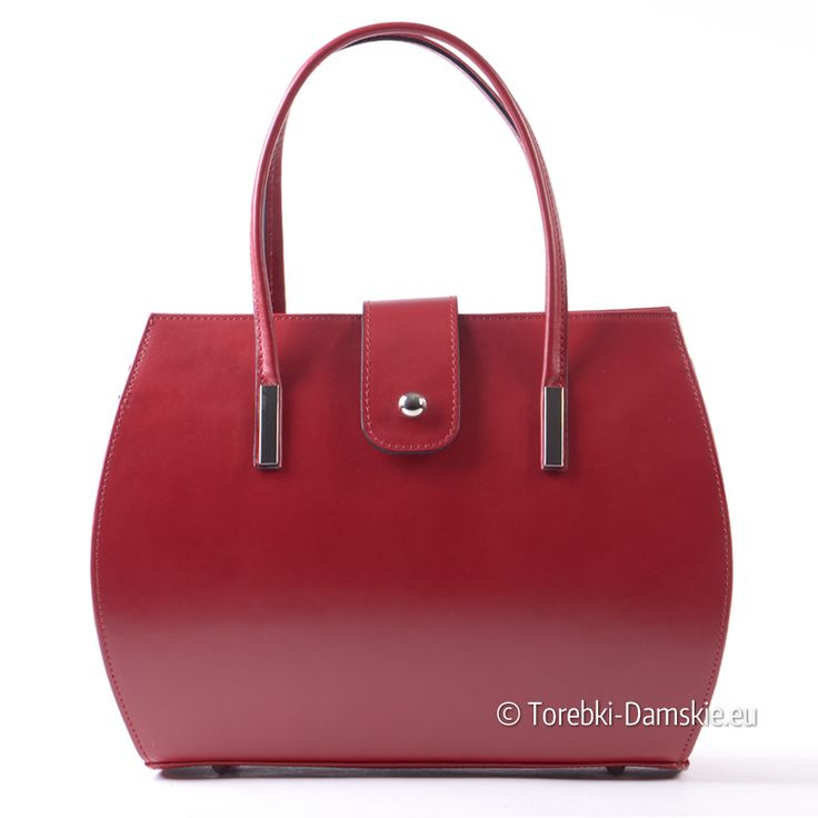 Torebka włoska w kolorze czerwonym. Kuferek o pięknym kształcie wykonany z prawdziwej, naturalnej licowej skóry
