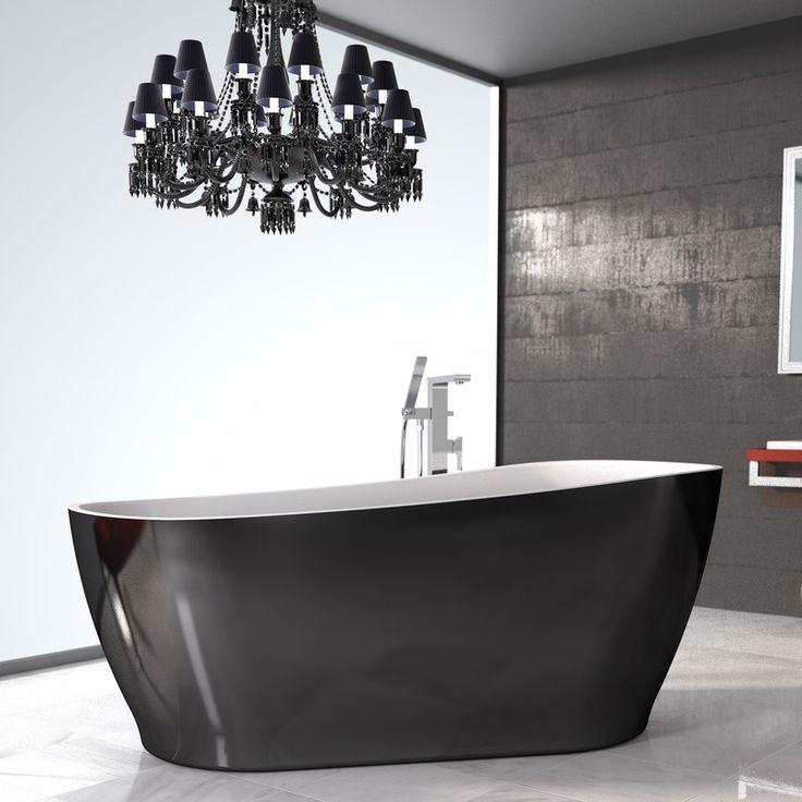 Noir 1700 Freestanding Bath #twotone #organicshape #highback #tapereddesign #blackandwhite