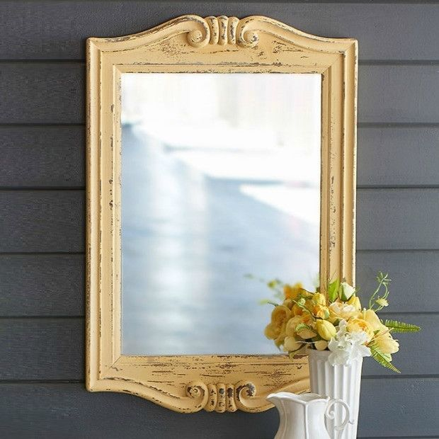 Distressed Painted Wood Wall Mirror Wood Wall Mirror Framed Mirror Wall Distressing Painted Wood