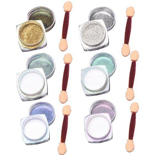 6 Pcs 1g Nail Art Specchio di Scintillio Brillante Nail Chrome Polvere del Pigmento Attrezzi di Arte del Chiodo con Sponge Stick