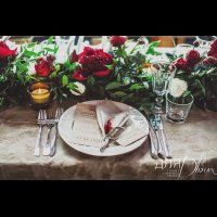 свадьба в стиле бохо во французских Альпах, оформление стола
