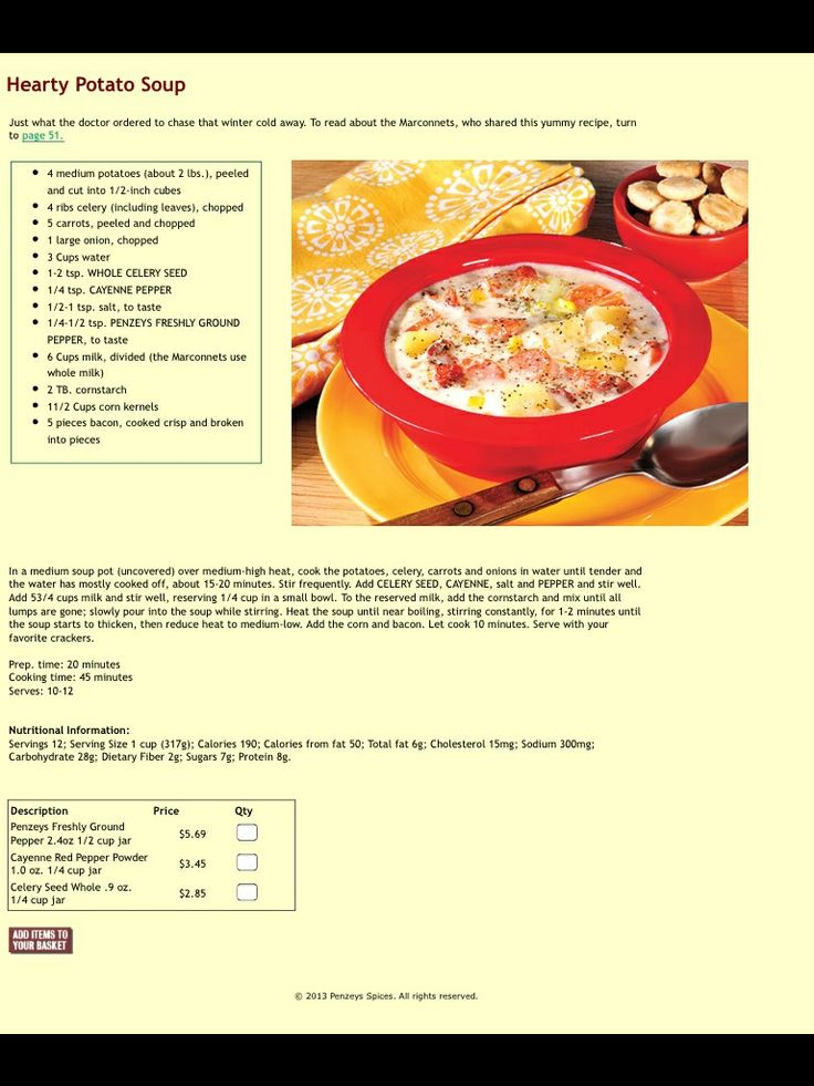 Hearty Potato Soup from Penzeys Spices
