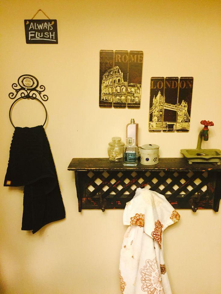 Vintage bathroom, with rustic towel shelf.