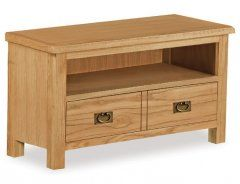 Belmont Rustic Oak TV Unit With Two Drawers & 1 Shelf
