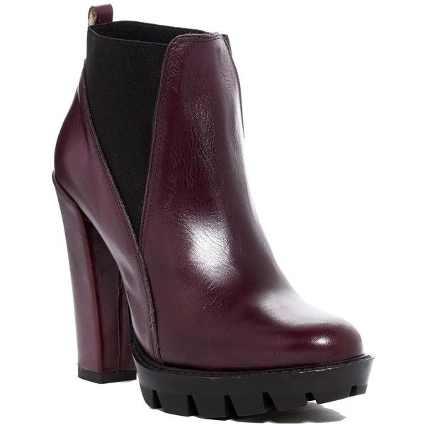 Charles David Diller Platform Chelsea Bootie found on Polyvore featuring shoes, boots, ankle booties, burgundy, platform boots, chelsea boots, chunky platform booties, thick heel booties and chunky-heel boots