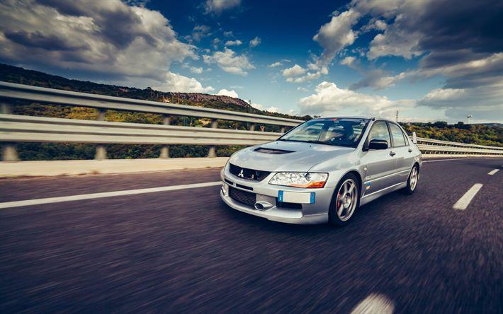 Download wallpapers Mitsubishi Lancer Evo 8, 4k, road, sportcars, tuning, japanese cars, Mitsubishi