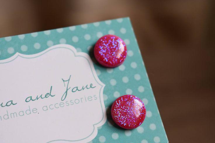Pink glitter earrings. Sparkle earrings. Resin earrings. Polymer clay earrings. Find them on etsy!