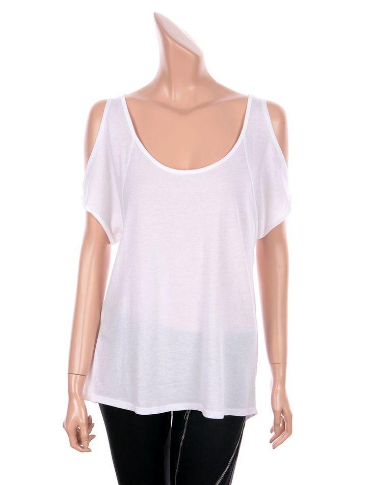 VICTORIA'S SECRET Sexy Cut Out Shoulder Short Sleeve Tees Tops WHITE color, 4 sz #VICTORIASSECRET #Cutoutshouldertee