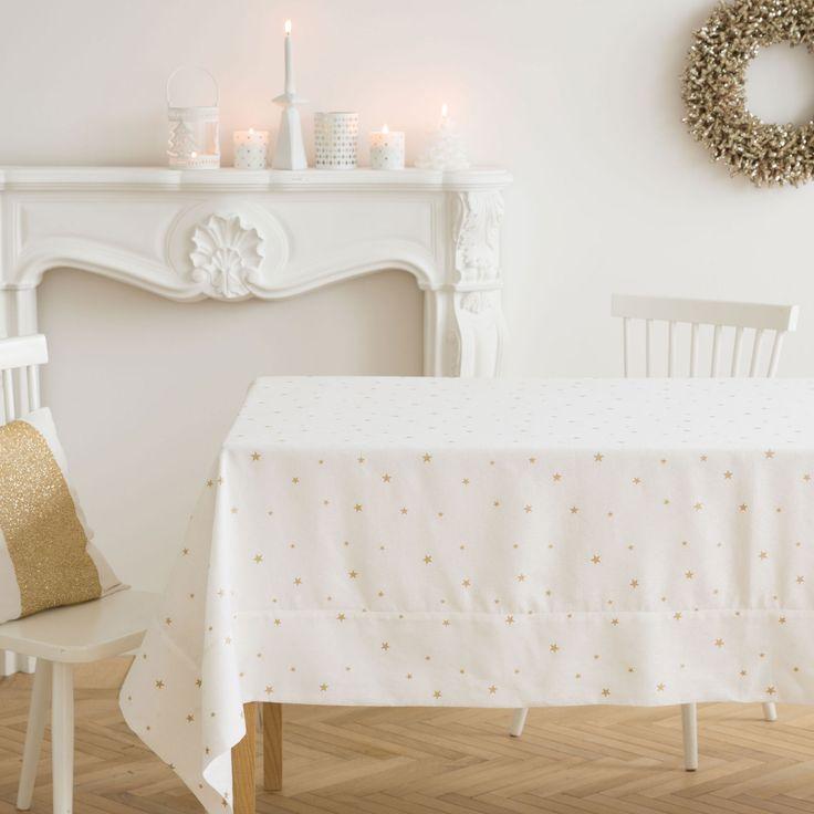 tischdecke und servietten aus leinen und baumwolle mit mini sternenjacquard tisch. Black Bedroom Furniture Sets. Home Design Ideas