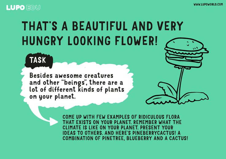 An assignment from our free materials for education. Find out more at: https://www.lupoworld.com/forteachers. Assignments work best with our game. #lupo #flora #burgerflower #fun #silly #science #nature #primaryschool #narrative #story #game #gbl