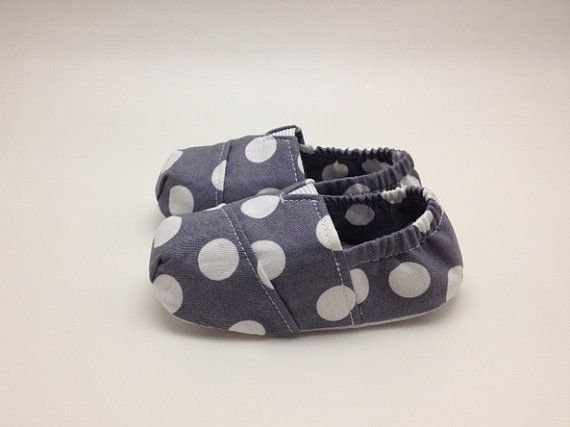 "Handmade Fitted ""Tom Style"" Baby Shoes in Charcoal Polkadot for Etsy by Scarlettos on Etsy, $25.00"