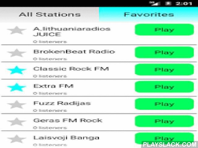 Lithuanian Radio Online  Android App - playslack.com ,  Listen to Lithuania Radio completely free! Many radio stations with different music genres like pop, rock, electro, dance, electro, hip hop, disco, RnB and classic. Examples of stations are:- Classic Rock FM- Lietus- Power Hit Radio- Lituanica FM- Saulės radijas- Relax FM- Radijas Tau- Radiocentrasand others. If you like lithuanian and international music, this is the best app for you!