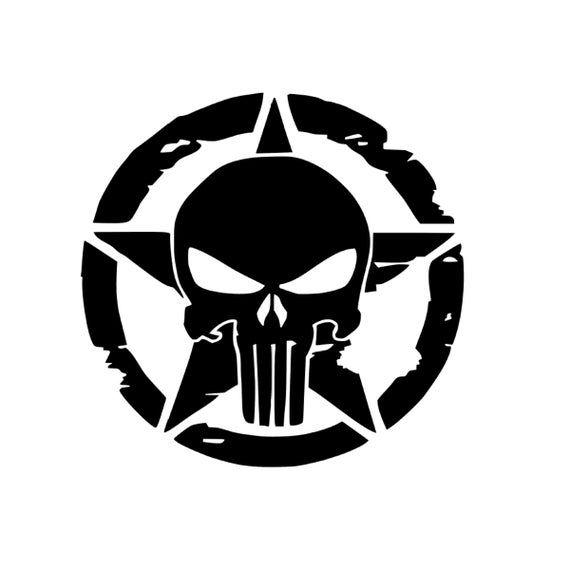 Punisher Skull STAR USA Sniper Vinyl Decal window laptop jeep truck Oracal army