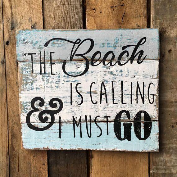 Beach Signs Beach Decor The Beach Is Calling Beach Quotes