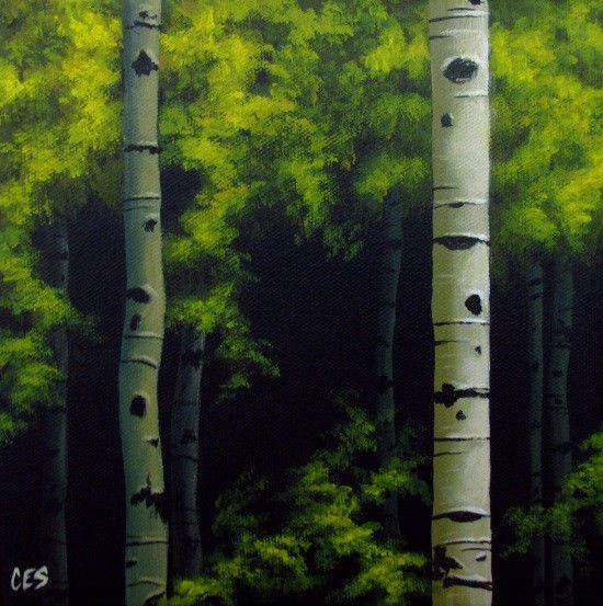 Original Daily Painting by CES - Birch Tree Forest Green LANDSCAPE Fine Art EBSQ #MyStyle
