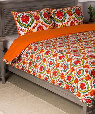Another great find on #zulily! Red & Orange Duvet Cover & Sham #zulilyfinds