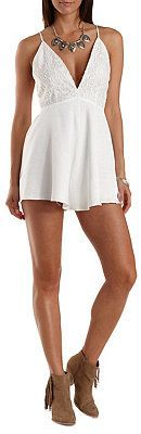 $39, White Lace Playsuit: Charlotte Russe Mustard Seed Strappy Lace Grosgrain Romper. Sold by Charlotte Russe. Click for more info: https://lookastic.com/women/shop_items/244791/redirect