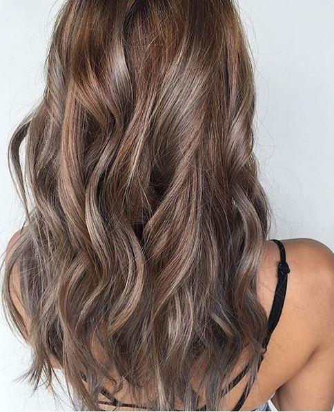 hair color idea - beige and ash brunette highlights