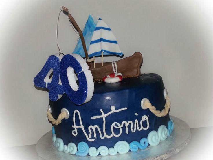 Deep blue cake, torta marinara con barchetta , canna da pesca