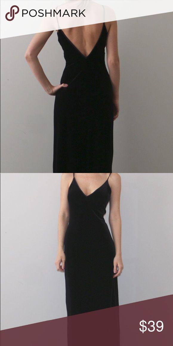 NWT bebe velvet maxi dress NWT Black velvet maxi dress. V cut in front and back. Floor length. Gorgeously on trend!! bebe Dresses Maxi