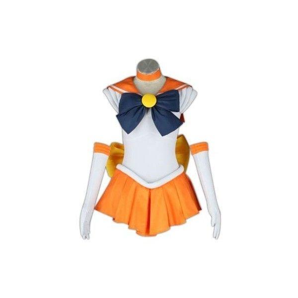 Sailor Moon Cosplay Costume -Sailor Venus Minako Aino 1st Fighting... ❤ liked on Polyvore featuring costumes, cosplay, cosplay halloween costumes, sailor moon costume, sailor moon halloween costume, role play costumes and sailor halloween costume