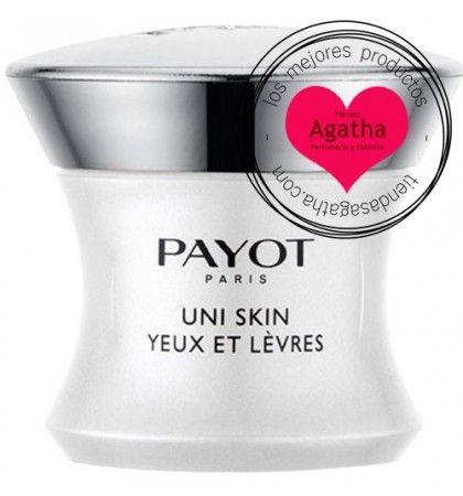 Payot Uni Skin contorno de Ojos y Labios 15 ml    Payot Uni Skin Yeux et Lèvres es un contorno de ojos que actúa contra los defectos de la piel como manchas, falta de luminosidad, marcas y rojeces. Tiene una textura que deja la piel lisa y sedosa.