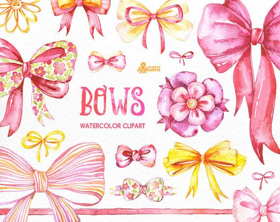Bows. 26 Watercolor handpainted clipart diy от OctopusArtis