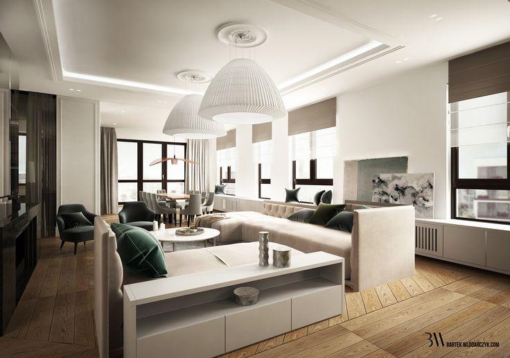 Salon z sufitem ozdobionym sztukaterią i lampami Axo Bell. http://bartekwlodarczyk.com/