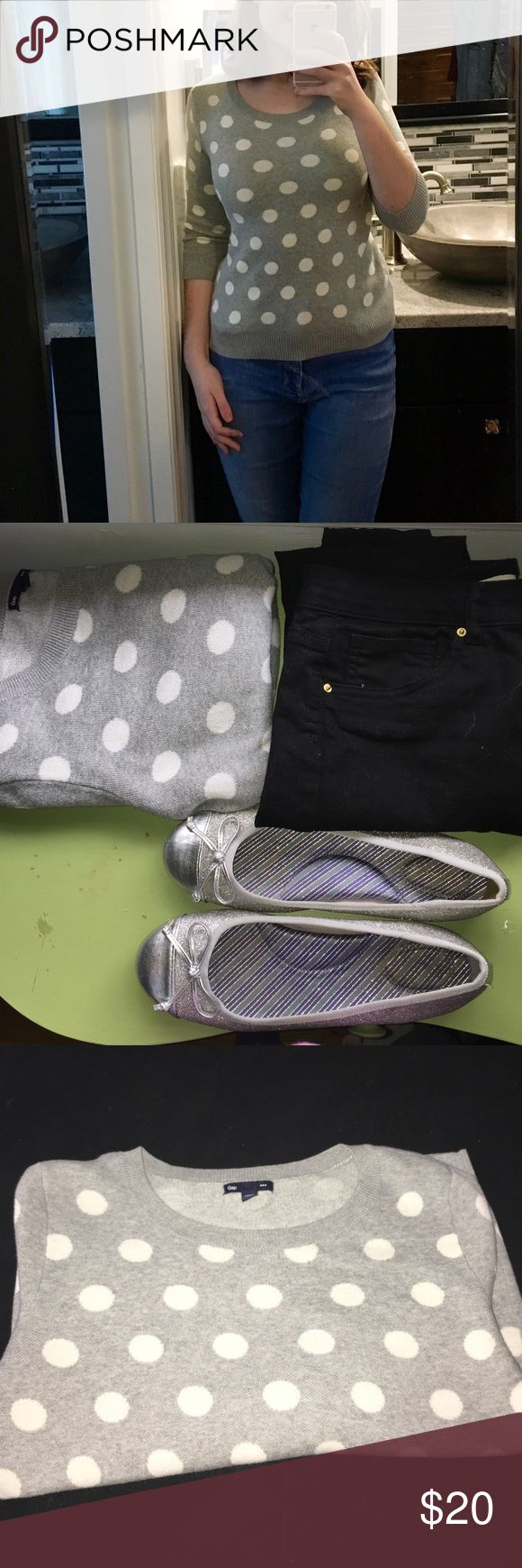 Polka dot sweater This grey sweater with white polka dots and 3/4 sleeves is super cute and casual! It can be dressed up or down and has absolutely no flaws. All items in the second picture go perfectly with this sweater and the shoes are currently for sale and the jeans will be up for sale within the week GAP Tops Sweatshirts & Hoodies