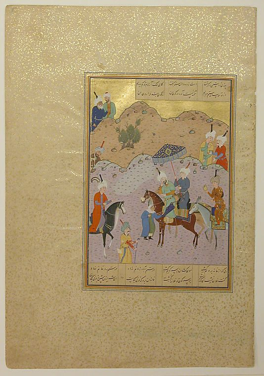 This folio is from a lavishly illustrated copy of the Khamsa (Quintet) by the poet Nizami. The calligrapher of this manuscript, Sultan Muhammad Nur, is known to have worked in Herat during the reign of the Timurid ruler Sultan Husain Baiqara, along with the famous painter Bihzad