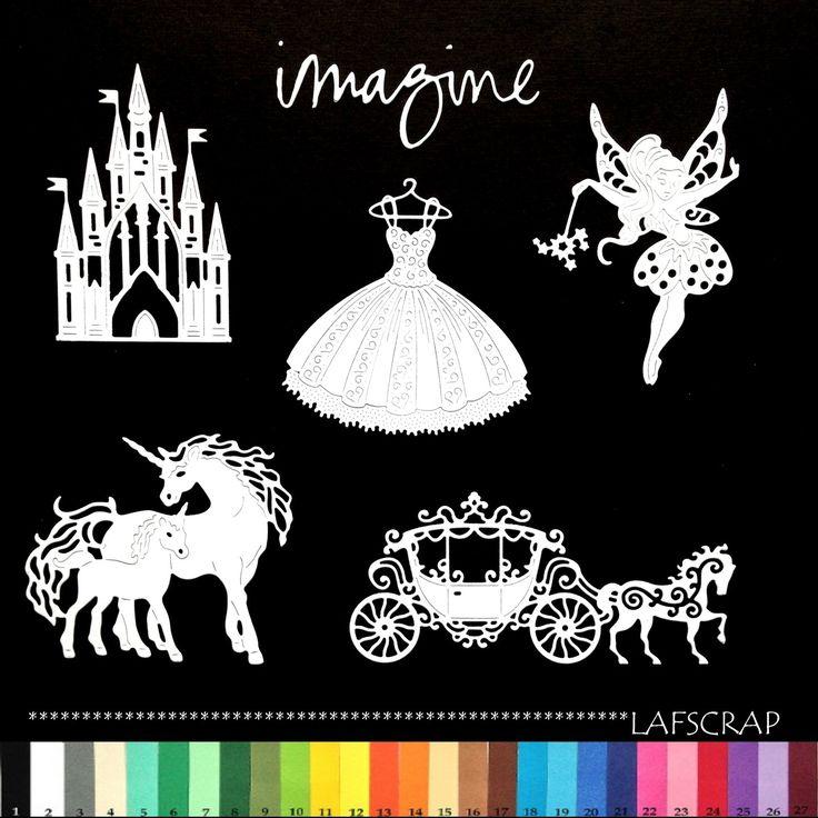 fr_lot_decoupes_imagine_fee_licorne_carrosse_cheval_robe_chateau_princesse_scrapbooking_embellissement_album_scrap_die_