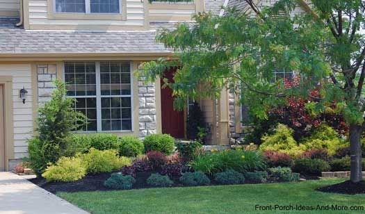 Lewis center ohio front porches front yard landscaping for Front porch landscaping plants