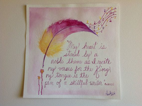 Original 12x12 Watercolor Painting Skillful Writer prophetic art feather quill verse Psalm 45 on Etsy, $75.00