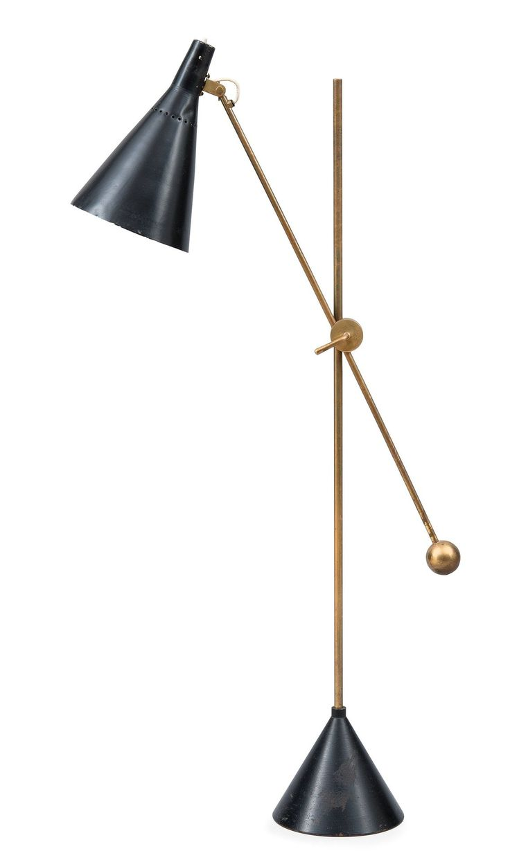 Tapio Wirkkala, K10-11, manufactured by Idman Ab, Finland, 1958. Black lacquered steel and brass. / Bukowskis