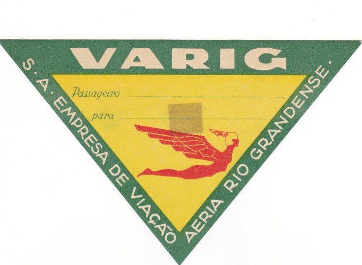 Varig Airlines vintage luggage label