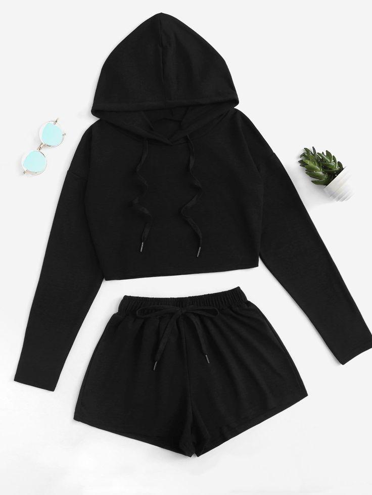 Drop Shoulder Drawstring Top With Shorts