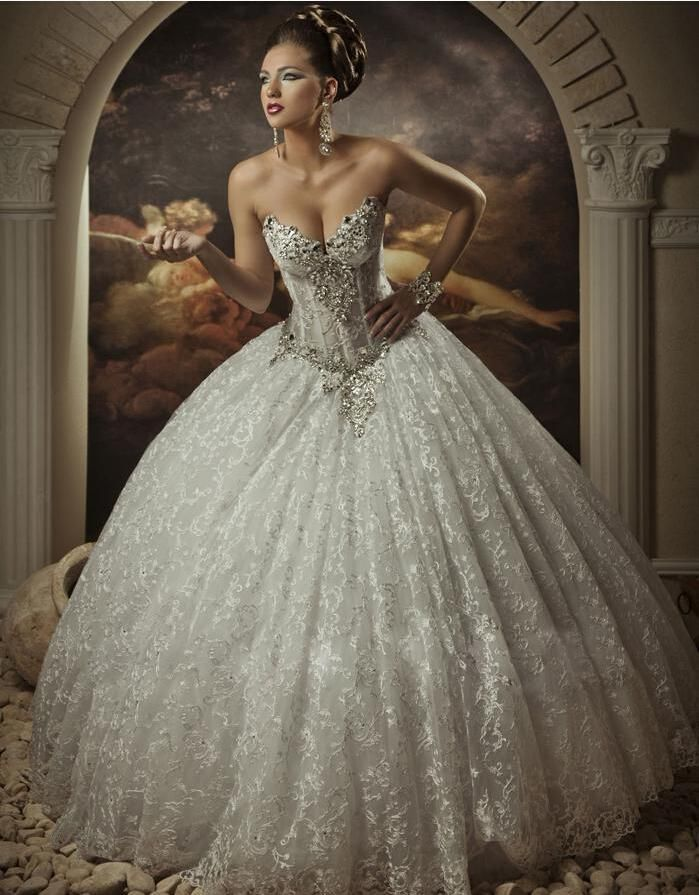 2014 royal dramatic sexy sweetheart ball lace bling crystals beaded see through corset wedding dresses beach
