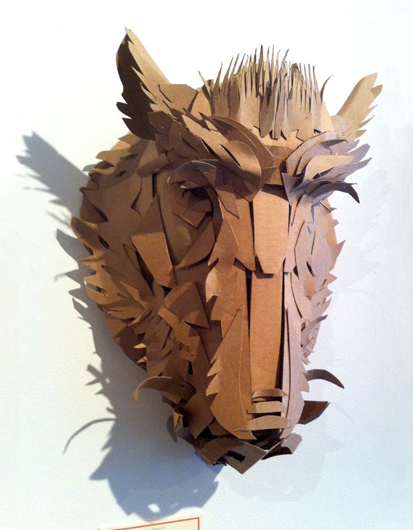 Boar Mask - cardboard sculpture by Jacqui Oakley