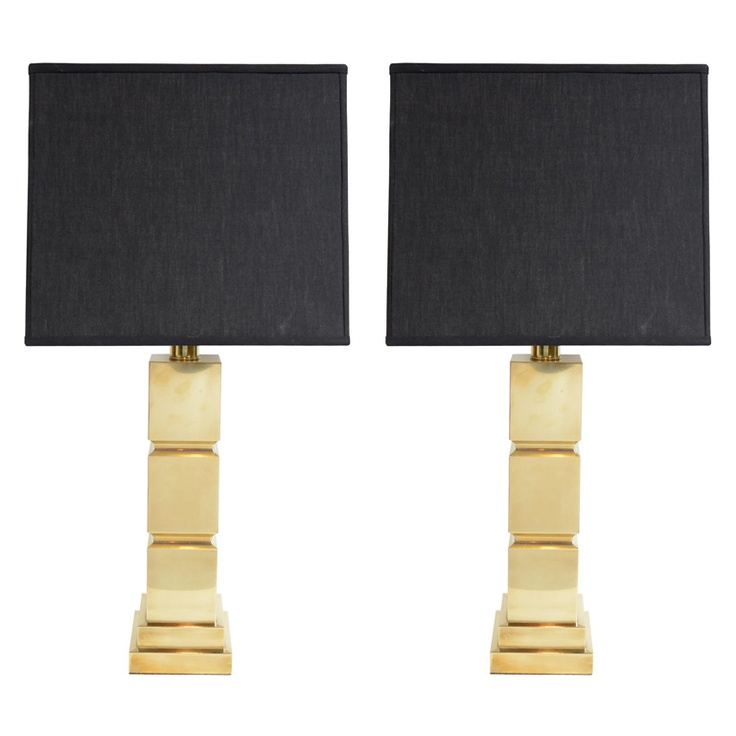 Modernist Cubist Style Polished Brass Table Lamps
