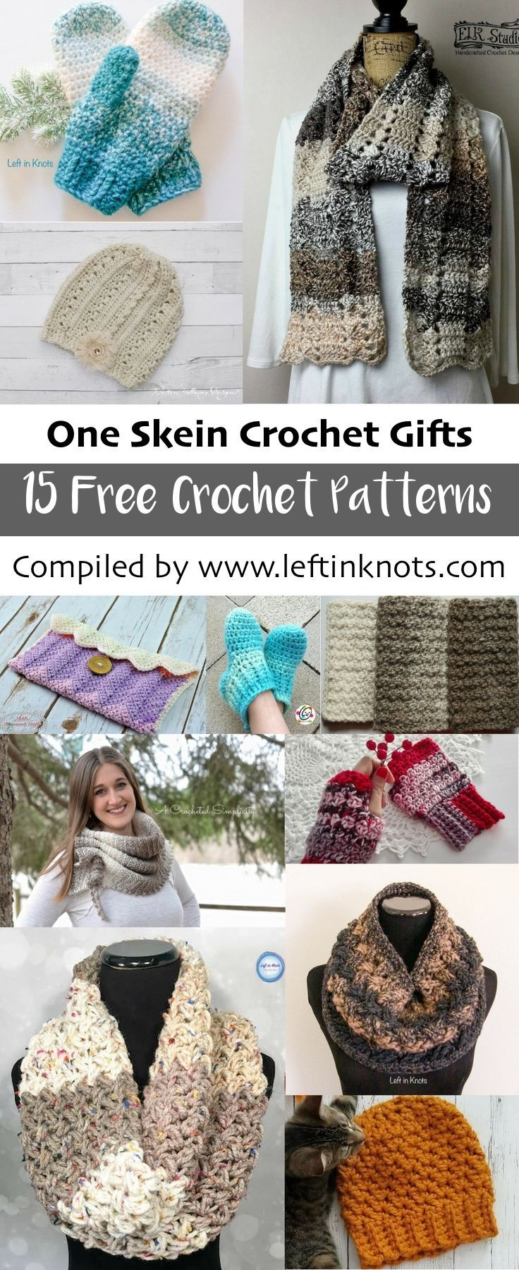 15 free one skein crochet projects! These free crochet patterns are simple,  fast and perfect for gifting this holiday season! One skein projects travel  well ...