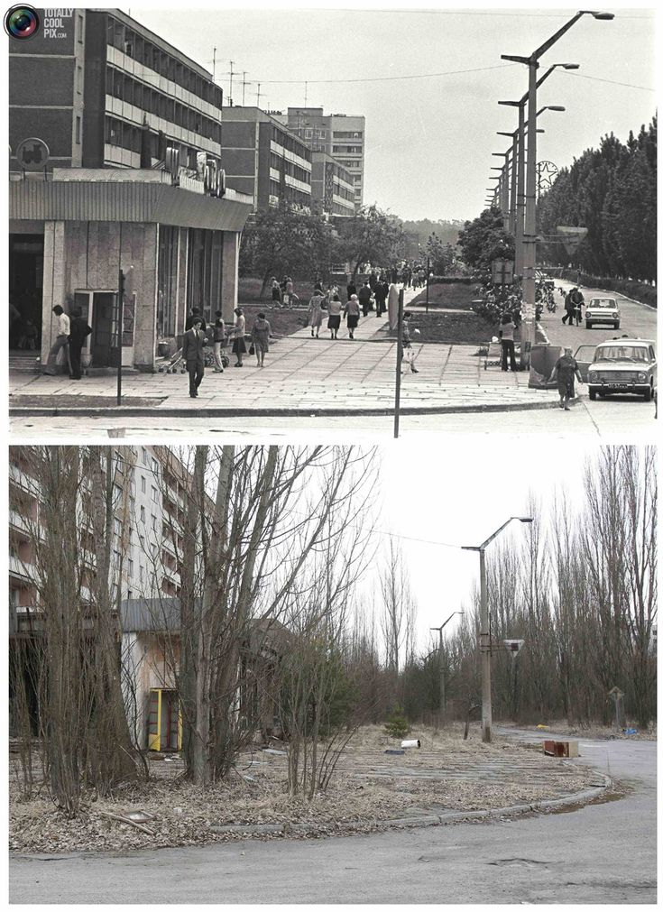 Chernobyl photos before and after 25 years later