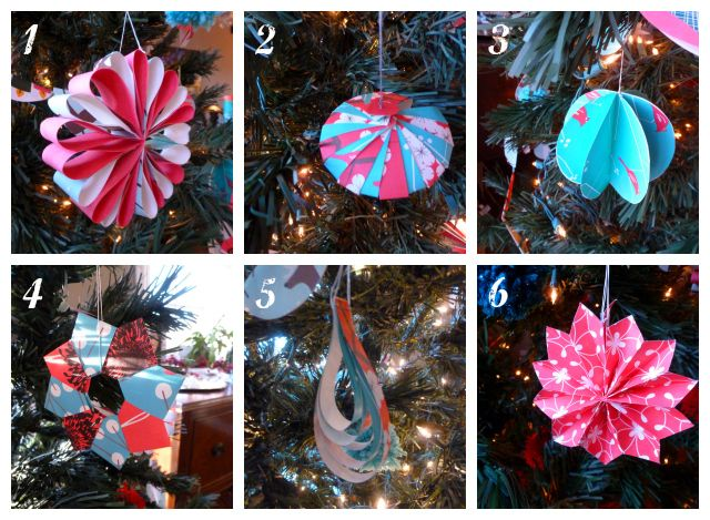 DIY paper ornaments or gift toppers. With paper garland.