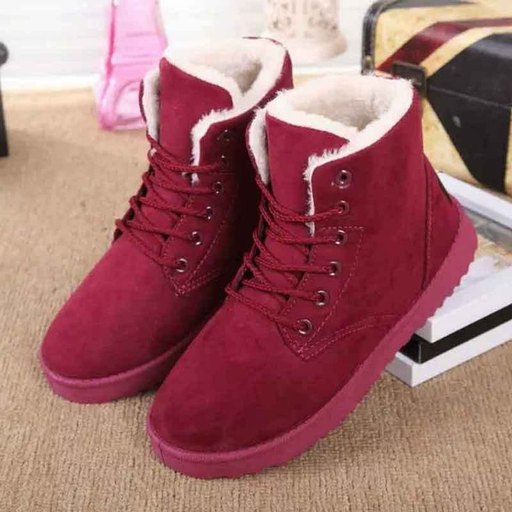 Womens Ladies Ankle Boots Fur Lined Winter Warm Thicken Shoes Snow Boots